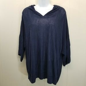 Eileen Fisher S Top Blue Hood Linen Boxy Pullover
